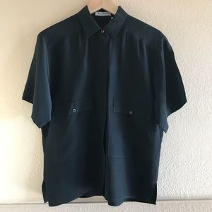 Ann Taylor 100% Silk Black Camp Shirt Short Sleeve